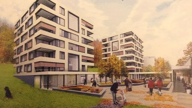 Visualisierung der Neubauten.