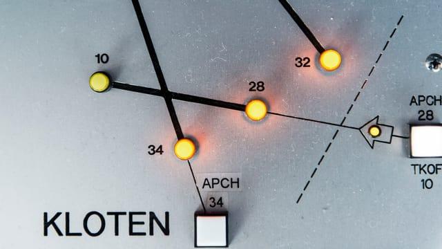 Pult mit Leuchtdioden welche die Pisten markieren, bei Skyguide im Tower des Flughafen Zuerich Kloten