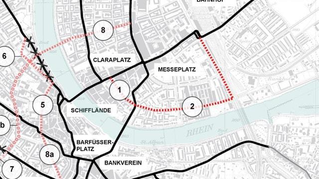 Stadtplan mit Tramnetz