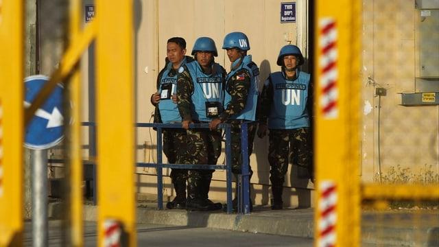 UNO-Soldaten an einem Grenzposten zwischen Syrien und Israel.