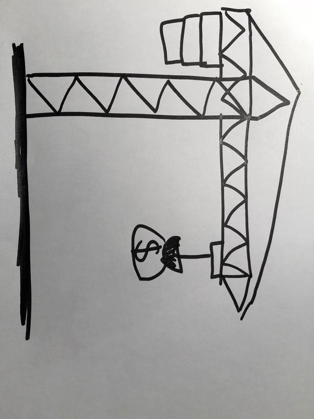 Bild mit einem Kran, der Geld transportiert.