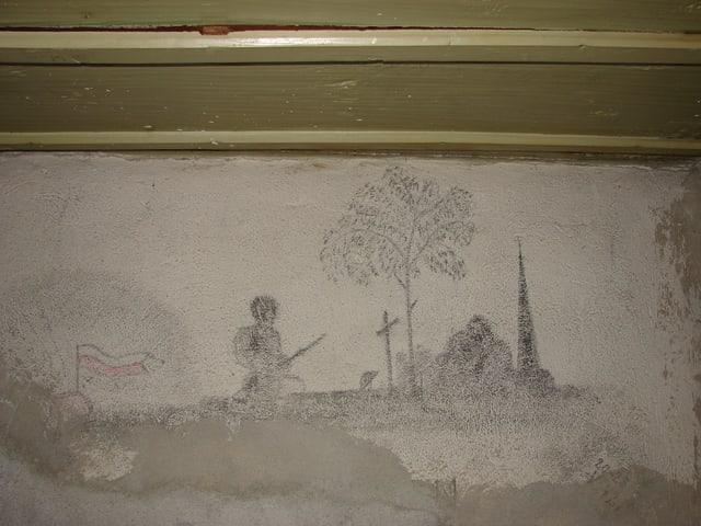 Zeichnung eines Soldatengrabes