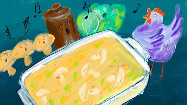 Zeichnung: Gratinform mit einem gelblichen Gericht. Dahinter Pilze, eine Pfeffermühle, Kohl und ein Huhn mit Gesichtern.