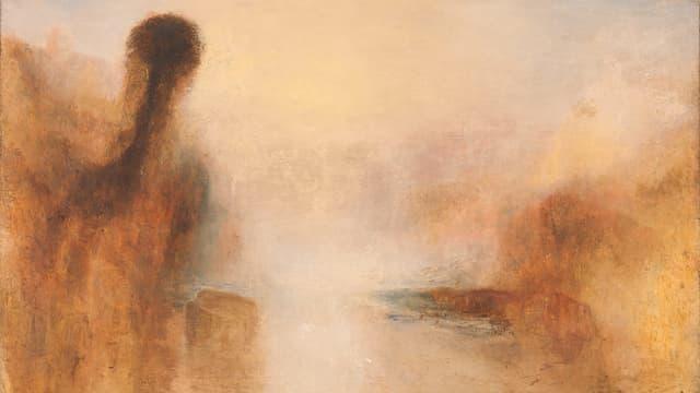 Ein Gemälde von William Turner. Es zeigt eine Landschaft und Wasser.