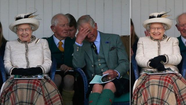 Queen Elisabeth und Sohn Charles beim Lachen.