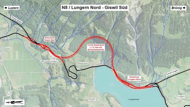 Plan für den Ausbau der Nationalstrasse zwischen Lungern und Giswil.