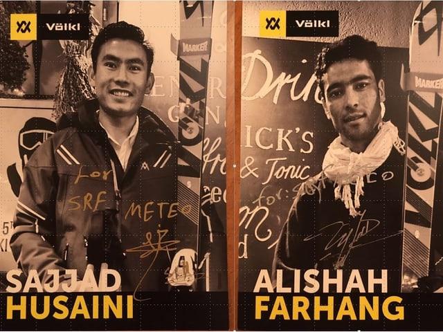Zwei Autogrammkarten mit den Konterfeis der afghanischen Skirennfahrer.