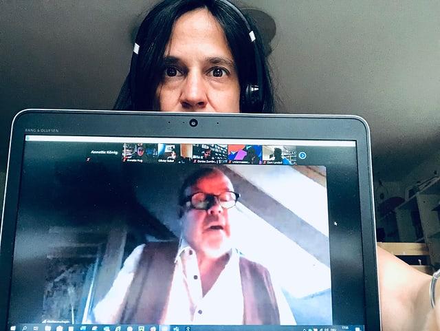 Bildschirmfoto des Podiumsgesprächs. Zu sehen Nicolas Couchepin (A*dS).