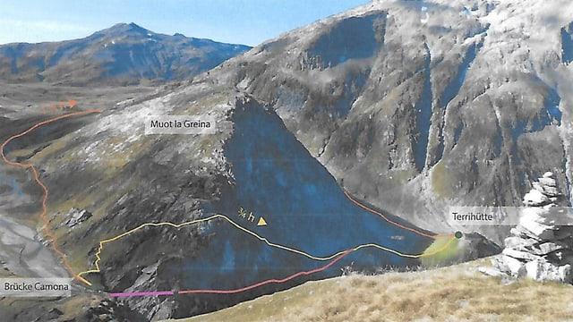 Mellen è la senda actuala sur il Muot la Greina. Cotschen è la nova senda cun la nova punt (violet).