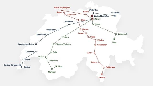 Das Streckennetz der neuen Fernbusse