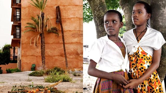 Geteiltes Bild: Rechts stehen zwei Mädchen nah beieinander und halten die Hände. Links ein Wohnblock – davor ein Haufen Orangen.