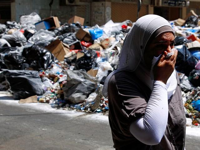 Wochenlanges Müllproblem in den Strassen von Beirut.