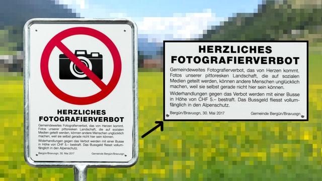 Tafel zum Fotografierverbot