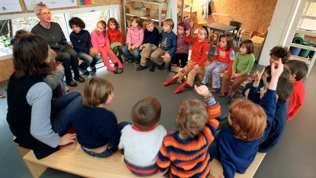Kindergartenkinder sitzen im Kreis und hören einer Kindergärtnerin zu