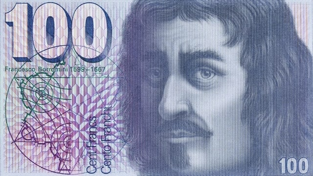 Bancnota da 100 cun il purtret da l'architect Francesco Borromini.