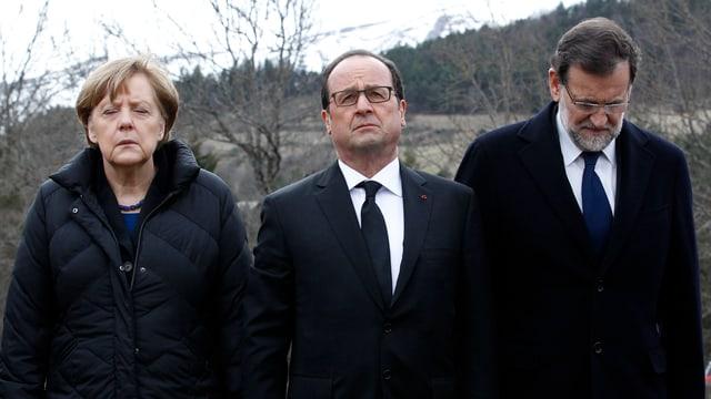 Merkel, Hollande und Rajoy trauern am Absturzort.