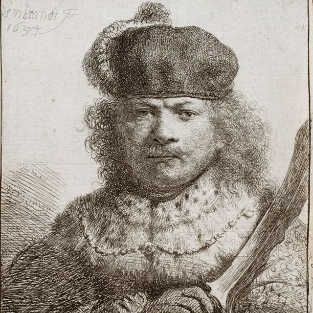 eine Zeichnung eines Mannes mit Pelz und Säbel