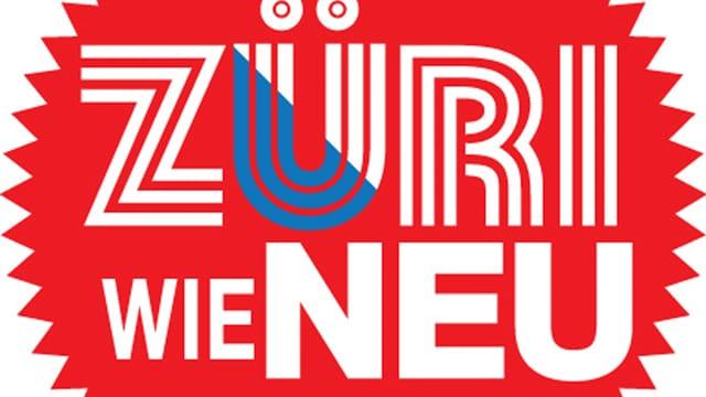 Das Logo von Züri wie neu: weisse Schrift auf rotem Kreis.