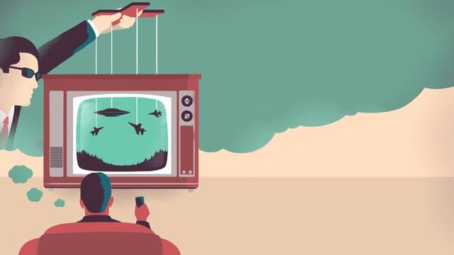 Eine Illustration mit einem Mann der Fernsehen schaut. Das Bild wird von einem anderen Mann manipuliert.
