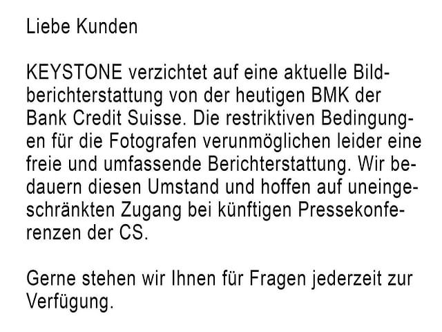 Bild der Keystone-Mitteilung an ihre Kunden.