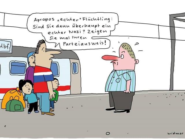 Karikatur einer Flüchtlingsfamilie, die die Echtheit eines Nazis anzweifelt.