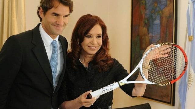 Roger Federer mit Argentiniens Präsidentin Cristina Fernández de Kirchner.