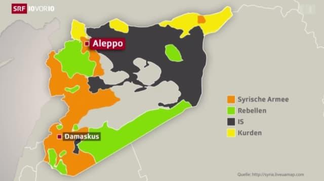 Karte Syriens mit jenen Gebieten, die von den entsprechenden Kriegsparteien kontrolliert werden.