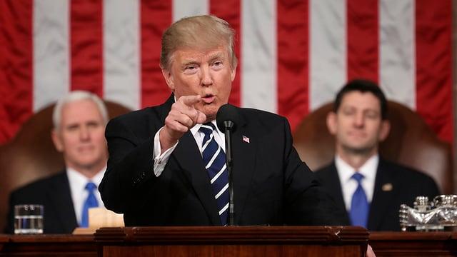 Donald Trump während seiner Rede im US-Kongress.