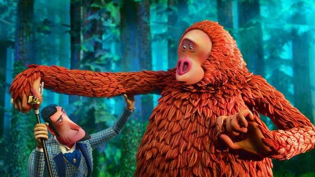 Affenartige Kreatur und Mensch Animation