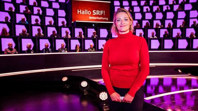 Moderatorin Susanne Kunz begrüsste die Gäste im Studio von «1 gegen 100», wo sie drei Stunden später für die Aufzeichnung einer weiteren Folge wieder im Einsatz stand.