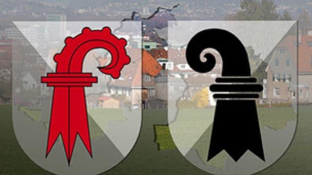 Wappen der beiden Kantone Basel und Basel-Landschaft.