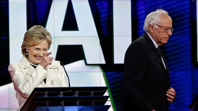 Hillary Clinton (sanester) e Bernie Sanders.