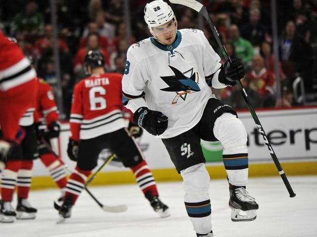 Timo Meier jubelt auf dem Eis sehr verhalten.