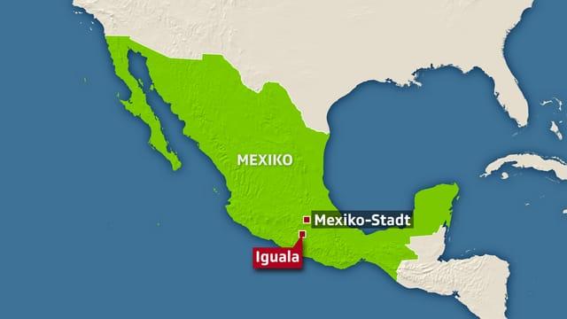 Kartenausschnitt Mexiko.