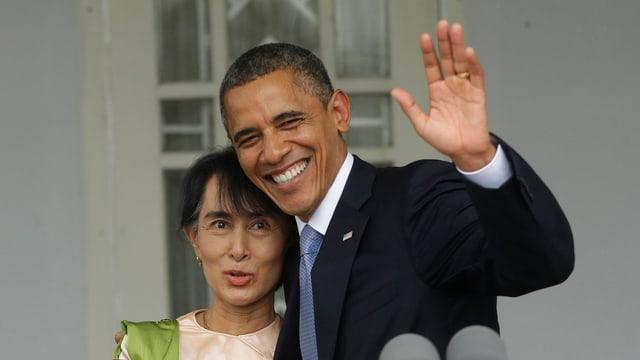 Barack Obama und die  Friedensnobelpreisträgerin Aung San Suu Kyi.