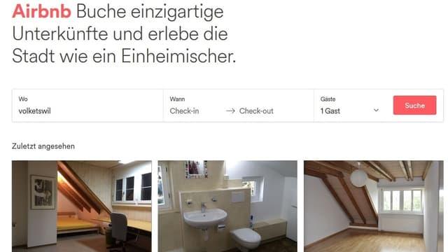 Bornscheins Inserat auf der Airbnb-Website