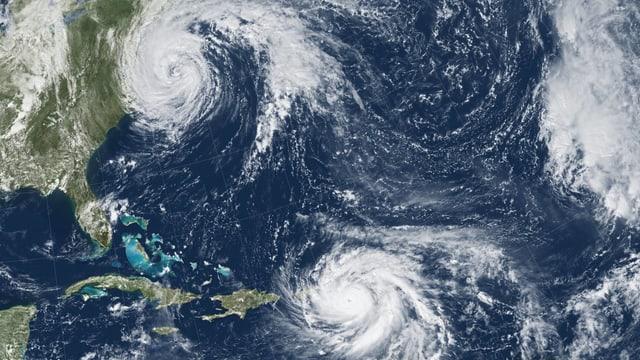 Satellitenbild mit den Hurrikanen «Maria» und «José».