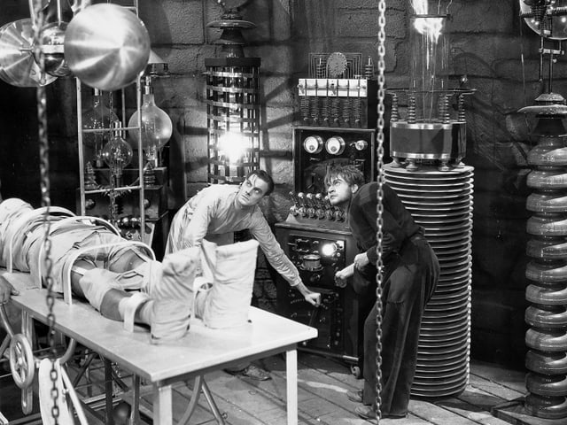 Colin Clive als Henry Frankenstein, John Boles als Victor Moritz.