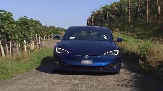 Blauer Tesla auf Nebenstrasse