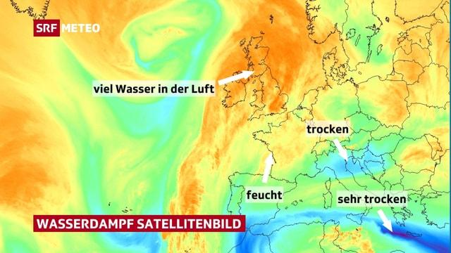 Farbiges Satellitenbild mit Beschreibung zu den Farben.