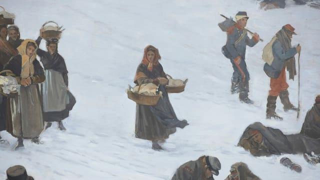Gemälde-Ansicht: Mädchen bringt Soldaten Körbe mit Essen