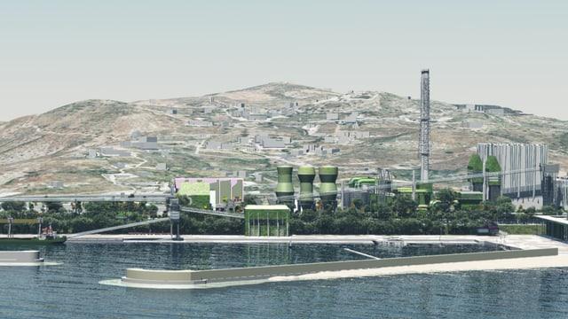 Skizze eines Kohlekraftwerks