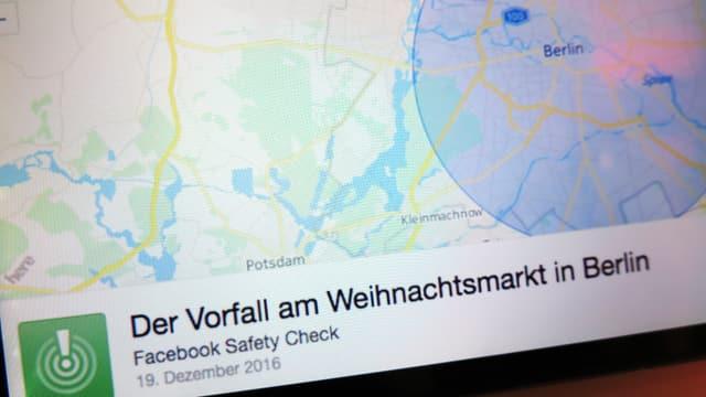 """Bildschirm mit Karte von Berlin, darunter steht """"Der Vorfall am Weihnachtsmarkt in Berlin."""
