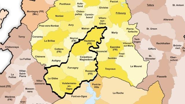 Karte der Freiburger Gemeinden.