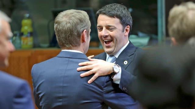 Donald Tusk begrüsst Matteo Renzi