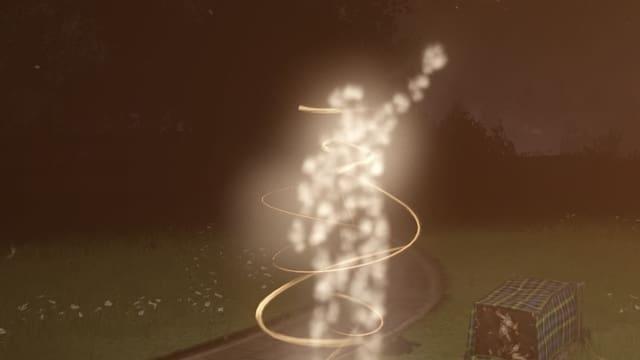 Eine Figur aus Lichtpartikeln löst sich auf.