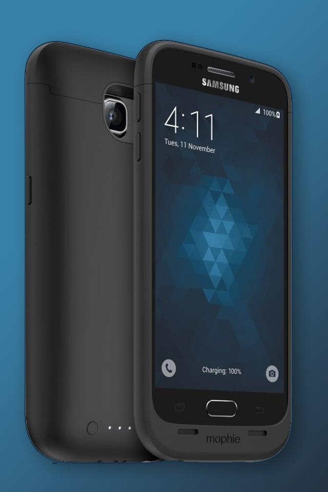 ZWei Samsung Galax S6 Geräte; einmall mit und einmal ohne Hülle.