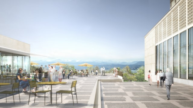 Visualisierung der Terrasse des Kongresshauses mit Blick über den See.
