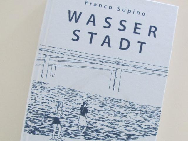 Buchdeckel des neuen Buches. Zu sehen sind eine Brücke, zwei Personen und eine Landschaft in blau gezeichnet, auf weissem Hintergrund.