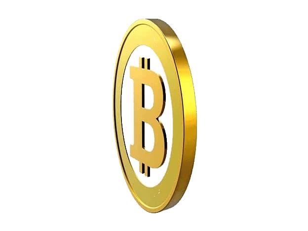 Eine fiktive Bitcoinmünze dreht sich
